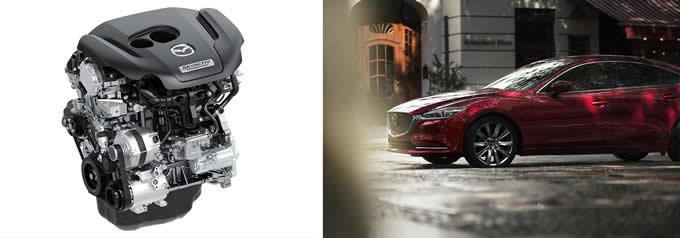 At left, the SKYACTIV-G 2.5T direct-injection turbocharged gasoline engine