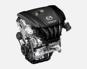 Mazda's highly efficient new-generation direct injection gasoline engine achieves the world's highest compression ratio (14.0:1) and delivers 15 percent better fuel economy and 15 percent more torque in the low- to mid-range *