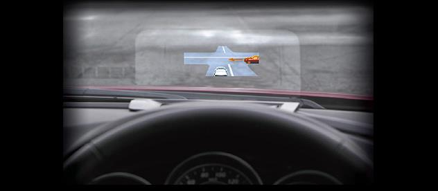 The intuitive HMI displays hazards surrounding the driver in all directions including blind spots, and does notinterferewith the operation of the vehicle.