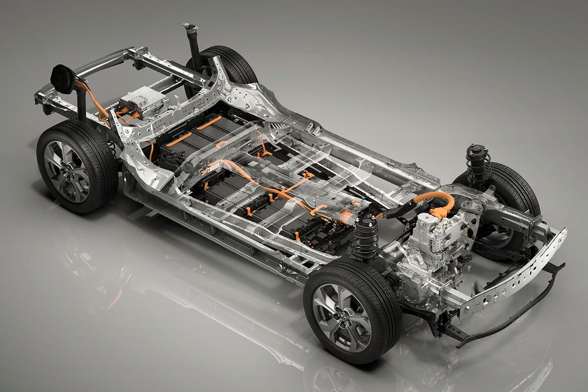 Mazda MX-30 frame and battery